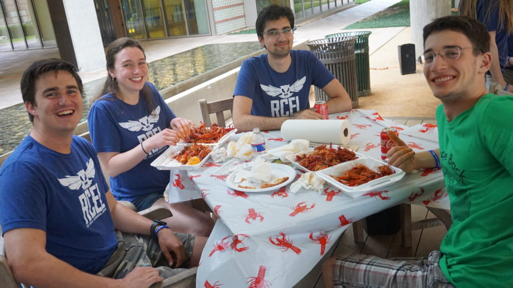 RCEL hosts End of Year Crawfish Boil and Pizza Party
